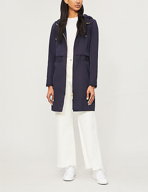 TED BAKER Torine lace-detail hooded woven parka