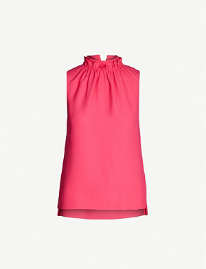 TED BAKER Audrey ruffle neck crepe top