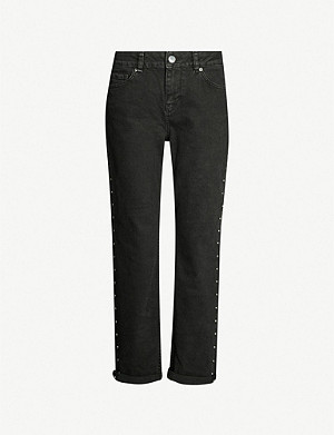 TED BAKER Corly studded straight mid-rise jeans