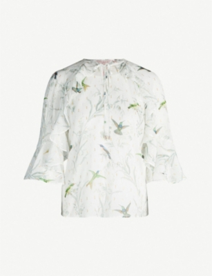 TED BAKER Fortune ruffle-trimmed bird-print georgette blouse