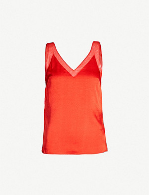 TED BAKER Lilyane mesh trim satin-crepe top