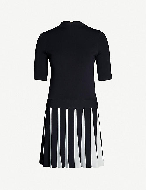 3d0c51b056fa80 TED BAKER Pleated-skirt knitted dress