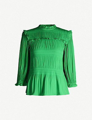 TED BAKER Airlie pleated-smocking high-neck crepe blouse