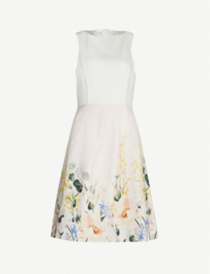 TED BAKER Kalla Elegance-print crepe and cotton dress