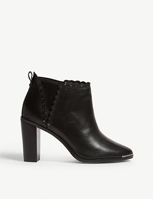 29fcf709d171 TED BAKER · Nurelyl scalloped leather ankle boots · TED BAKER Dotta leather  heeled ...