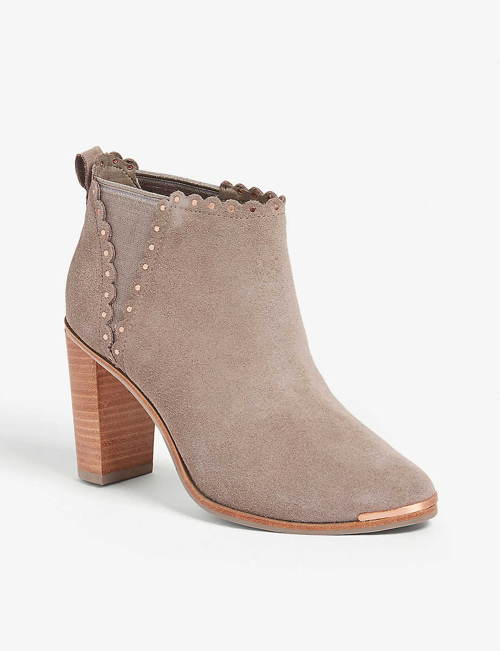 97deea242f01 ... Nurely scalloped suede ankle boots - Light grey ...