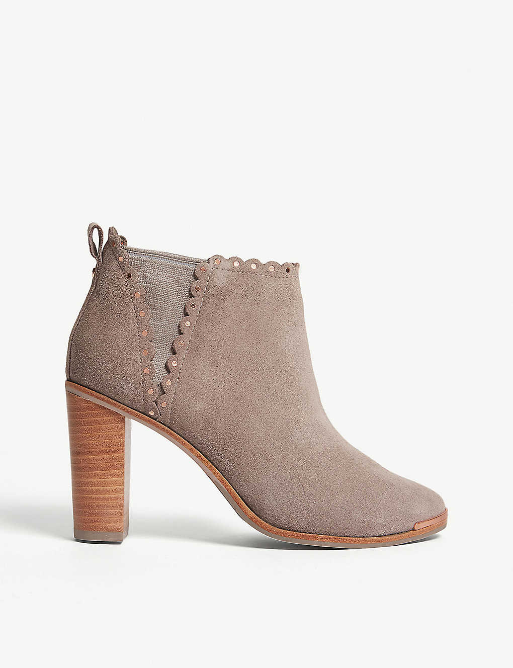 c06852ccbe3f Nurely scalloped suede ankle boots - Light grey ...