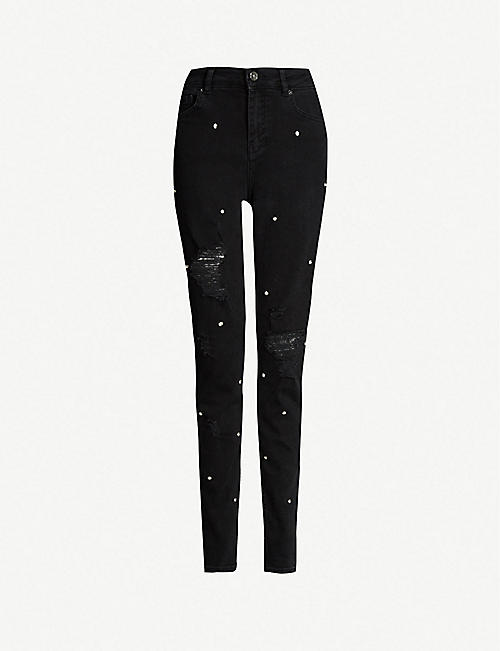 92c410be4 TED BAKER Bretie ripped diamante-embellished skinny high-rise jeans