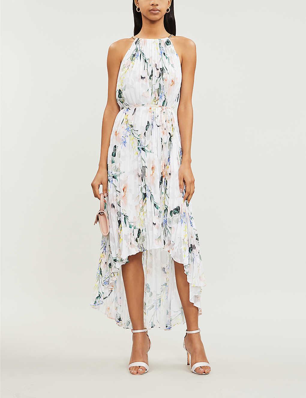 202c70344 ... Valetia Elegance-print pleated devoré dress - White ...