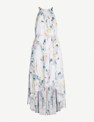 TED BAKER Valetia Elegance-print pleated devoré dress