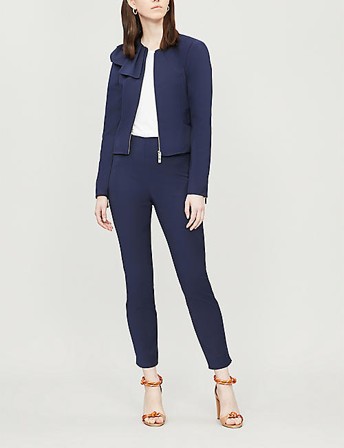 TED BAKER Draped-panel cropped crepe jacket