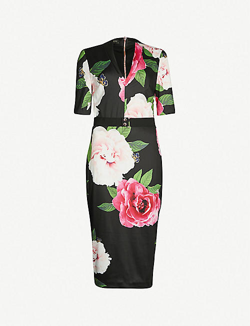 71374dbaedaa8a TED BAKER Gilanno floral-print bodycon jersey dress