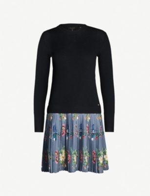 TED BAKER Izitaa oracle-print knitted dress