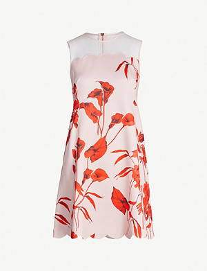 TED BAKER Fantasia-print scalloped mini dress
