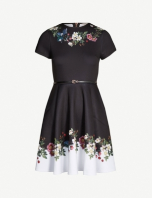 TED BAKER Chestna oracle-print jersey skater dress