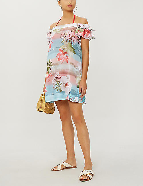 TED BAKER Mint Choc Chip tropical-print crepe bardot cover-up