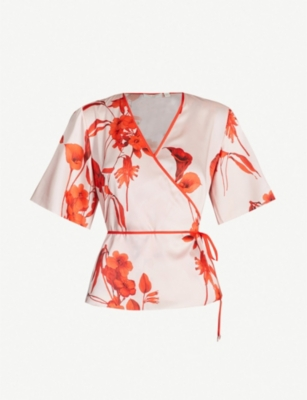 TED BAKER Fantasia floral print satin wrap top