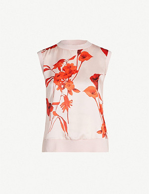 TED BAKER Yssie Fantasia-print sleeveless satin top