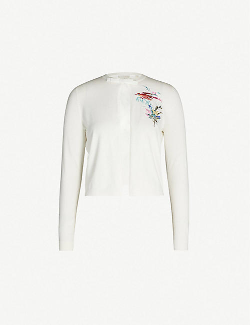 75d9ce96c10e TED BAKER Fortune embroidered cotton-linen blend cardigan