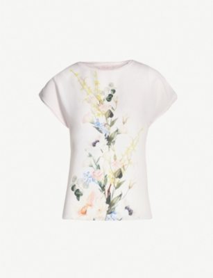TED BAKER Floral printed crepe and jersey T-shirt