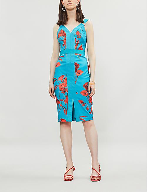 5d1622767c4 TED BAKER Jordja Fantasia-print midi pencil dress · Quick Shop