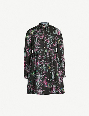 TED BAKER Duclin floral-print chiffon mini dress