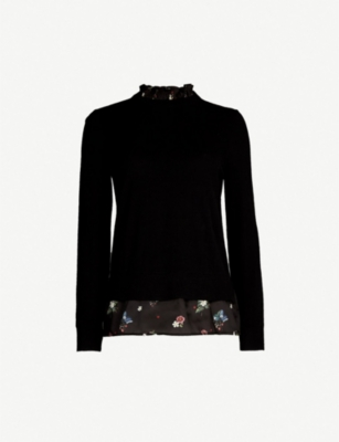 TED BAKER Flisiti floral-hem cotton-blend jumper