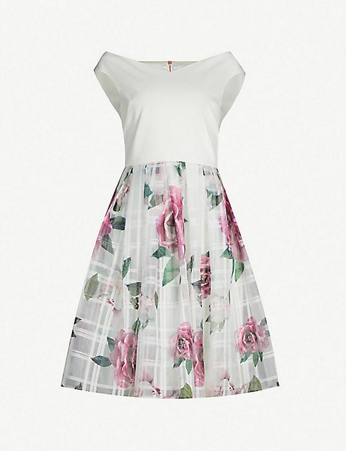 6bd7cc1470b TED BAKER Licious Magnificent-print off-the-shoulder mini dress