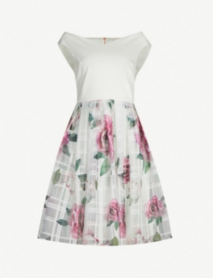 TED BAKER Licious Magnificent-print off-the-shoulder mini dress