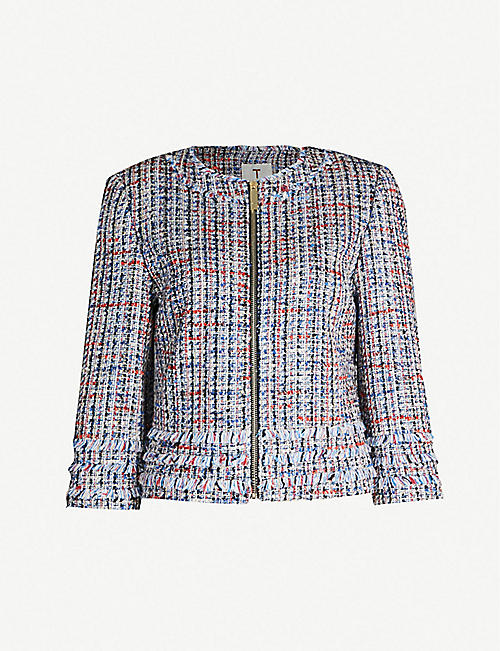 TED BAKER Frayed-trim cropped tweed bouclé jacket