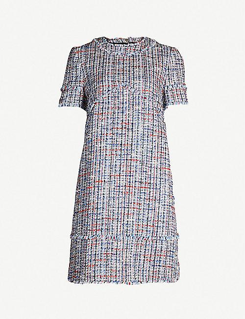 8e130cd54d42 TED BAKER Frayed-trim tweed bouclé tunic dress