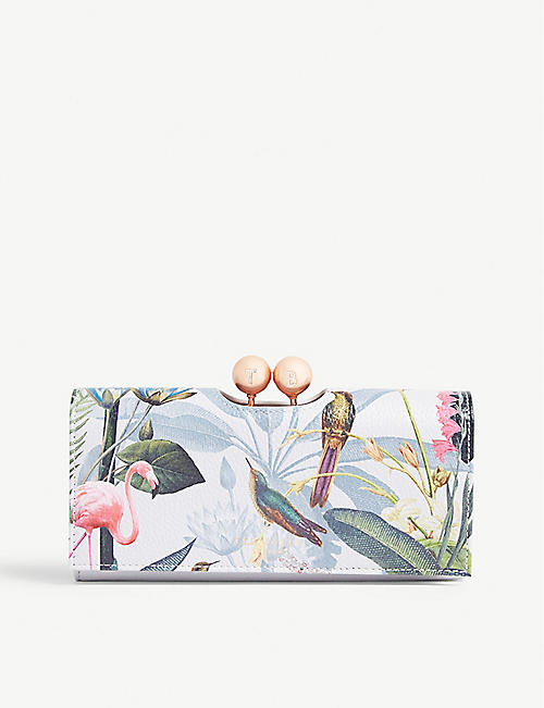 65ee37232071 TED BAKER Cher Pistachio print leather matinee purse