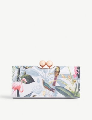 TED BAKER Cher Pistachio print leather matinee purse