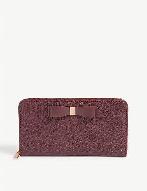 TED BAKER Bow detail leather matinee purse