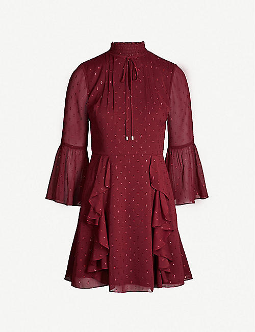 c17cae685e670 TED BAKER Medoll cold-shoulder bow-embellished jersey top. £99.00. £49.00. TED  BAKER Haleat ruffled fil-coupé dress