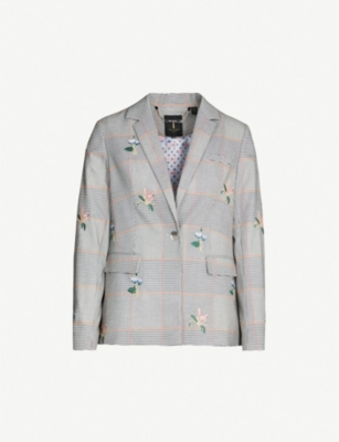 TED BAKER Darceye houndstooth-check and floral woven blazer