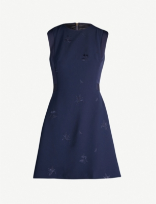 TED BAKER Saahrad embroidered crepe shift dress