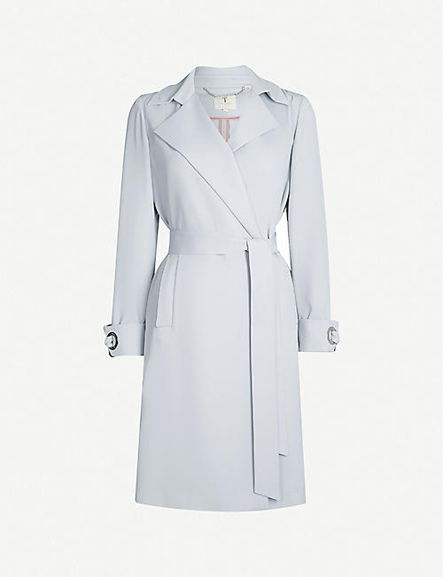 TED BAKER Cuff-tie crepe wrap coat