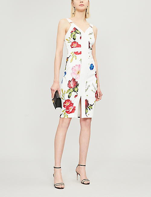 TED BAKER Amylia Berry Sundae floral-print stretch-crepe bodycon dress