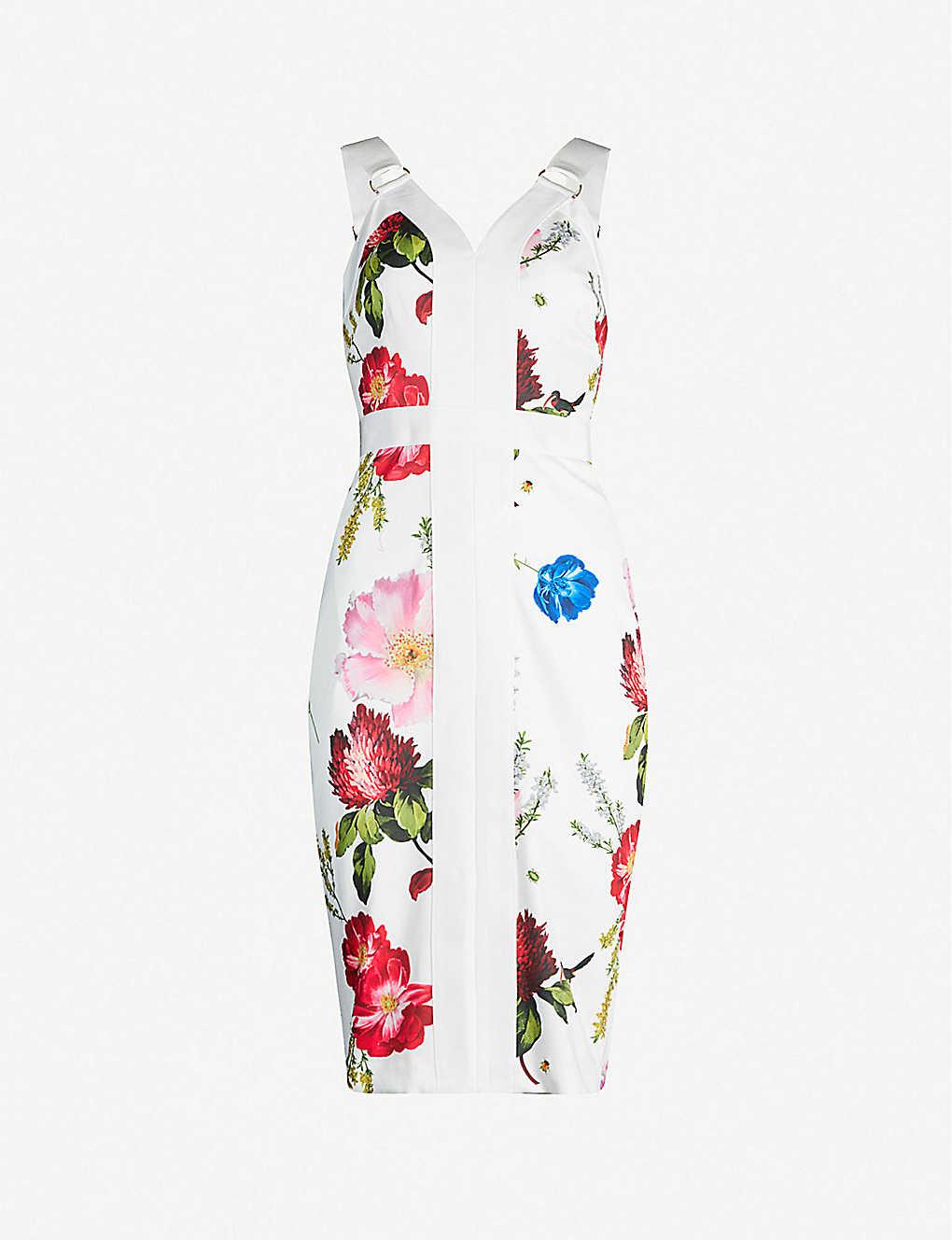 770e0c110 Amylia Berry Sundae floral-print stretch-crepe bodycon dress - White ...