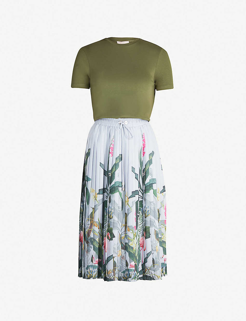 6ac9670aee6 TED BAKER - Pistachio floral-print short sleeved cotton and crepe ...