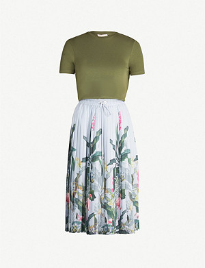 TED BAKER Pistachio floral-print short sleeved cotton and crepe dress