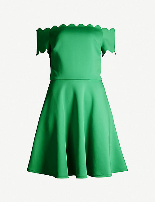 2d971084617 TED BAKER Fellama Bardot scallop stretch-jersey skater dress