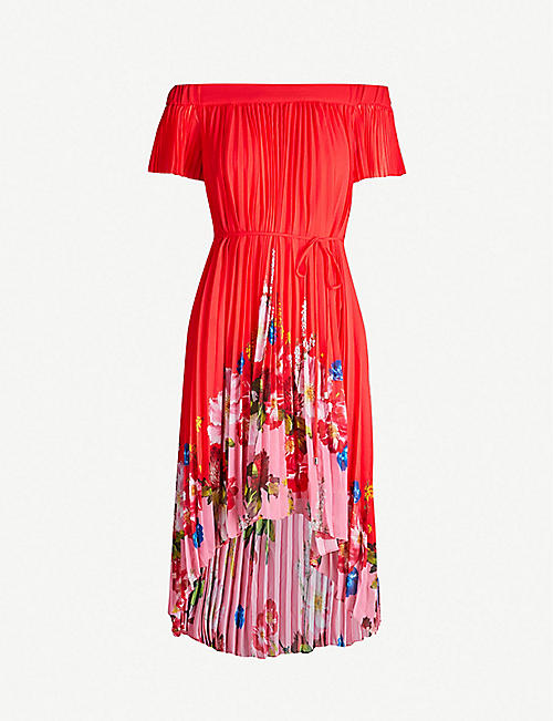 c6bc0ab389b0 TED BAKER Berry Sundae floral-panel pleated chiffon dress