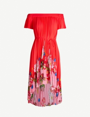 TED BAKER Berry Sundae floral-panel pleated chiffon dress