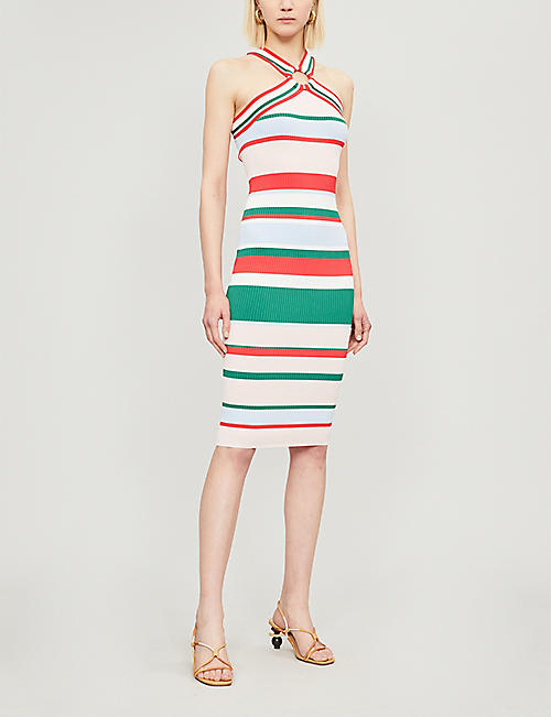 TED BAKER Tutti Fruitti striped halterneck knitted bodycon dress