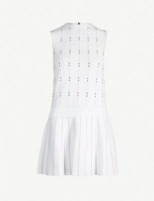 TED BAKER Stitched-detail checked woven dress