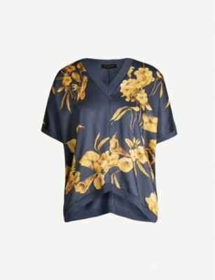 TED BAKER Fantasia-print inverted-hem satin and stretch-knit jumper
