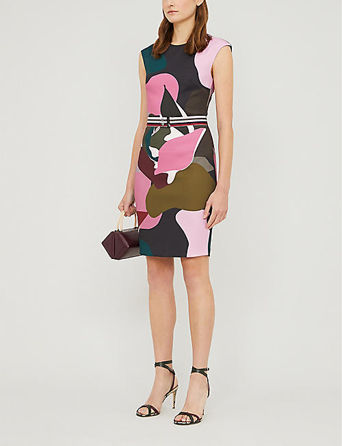 TED BAKER Ginina graphic-print stretch-crepe midi dress