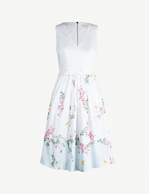TED BAKER Reyyne floral-print stretch-cotton dress